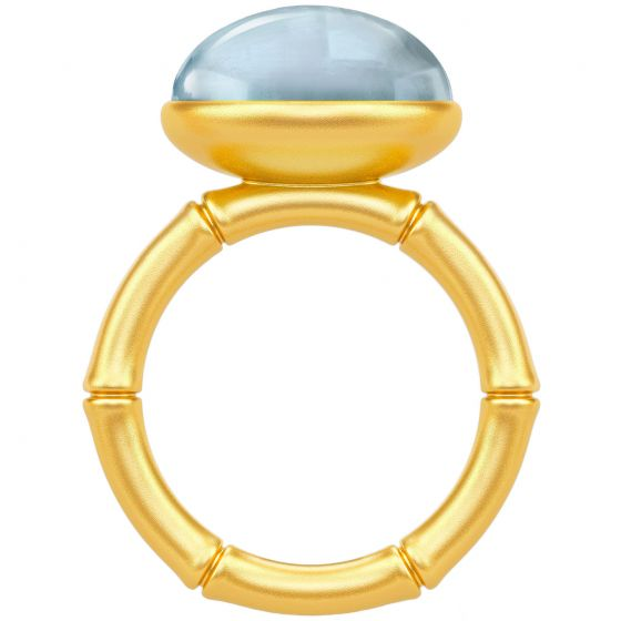 Julie Sandlau - Bamboo Wisdom Ring - Blue/Forgyldt