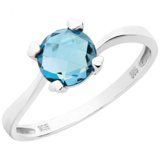 Aveny - London Blue Topas Ring - 14 Karat Hvidguld